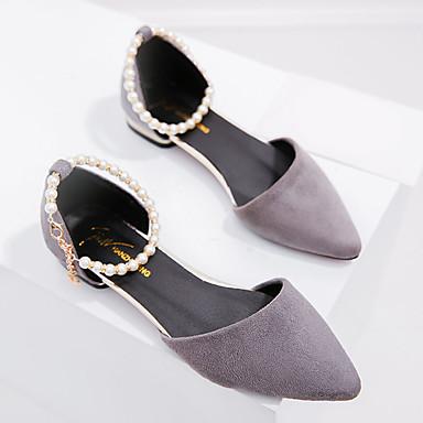 رخيصةأون صنادل نسائية-نسائي PU الربيع صنادل كتلة كعب حذاء براس مدبب أسود / رمادي / بورجوندي