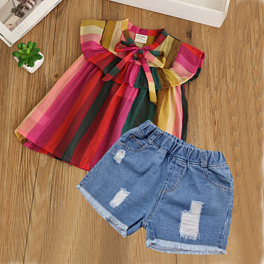 264cc88ebc130 رخيصةأون أطقم ملابس البنات-مجموعة ملابس كم قصير منقط   كارتون للفتيات أطفال    طفل