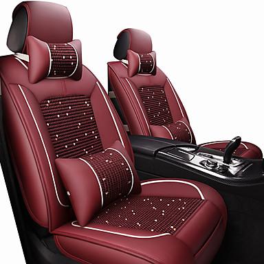 abordables Accessoires Intérieur de Voiture-siège d'auto couvre appui-tête& kits de coussin de taille vin / noir / tissu polyester marron / cuir commun / business for universal