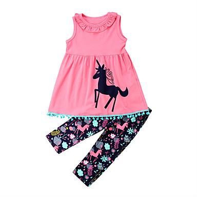 cheap Girls' Clothing Sets-Kids / Toddler Girls' Active Cartoon Sleeveless Cotton / Spandex Clothing Set Navy Blue