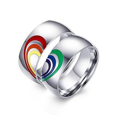 voordelige Herensieraden-Heren Dames Bandring 2pcs Zilver Roestvast staal Kleurrijk Bruiloft Feest Sieraden Regenboog