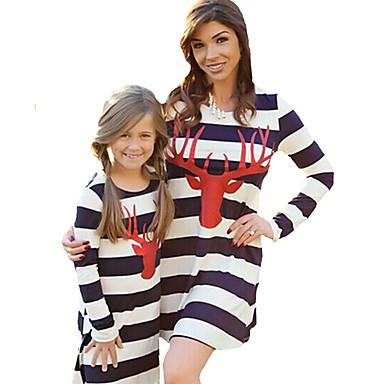 billige Familie-tøjsæt-Mommy og mig Aktiv Basale Stribet Geometrisk Trykt mønster Langærmet Normal Knælang Normal Bomuld Kjole Hvid