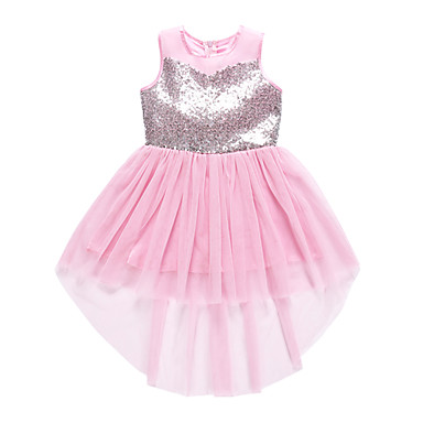 Χαμηλού Κόστους Φορέματα για κορίτσια-Παιδιά Νήπιο Κοριτσίστικα Ενεργό Βασικό Μονόχρωμο Δαντέλα Πούλιες Φιόγκος Αμάνικο Ως το Γόνατο Βαμβάκι Πολυεστέρας Φόρεμα Ανθισμένο Ροζ