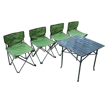 Leirintäpöytä ja tuolit Kannettava Sisäänvedettävissä Taiteltava Oxford-kangas karabiinien ja puuhihnojen kanssa 4 tuolia 1 Taulukko varten 4 henkilöä Retkeily Syksy Kevät Vihreä