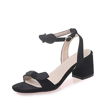 cheap Women's Sandals-Women's Faux Leather Summer / Spring & Summer Casual / Sweet Sandals Walking Shoes Chunky Heel Open Toe Satin Flower Black / Beige / Pink