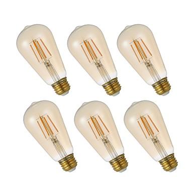 6kpl himmennettävä LED-hehkulamppu st19 4.5w antiikki-hehkulamppu keltainen lasi 120v 2200k lämmin valkoinen kodin kattotuuletin kahvila koristeellinen