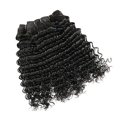 baratos Extensões de Cabelo Natural-4 pacotes Cabelo Mongol Onda Profunda Não processado Cabelo Natural Cabelo Humano Ondulado Cabelo Bundle Extensões de Cabelo Natural 8-28inch Côr Natural Tramas de cabelo humano Sem Cheiros Macio