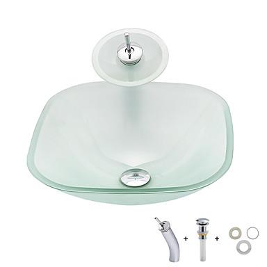 Baderomsvask / Baderom Monteringsring / Baderom Vannavløp Moderne - Herdet Glass Kvadrat Vessel Sink
