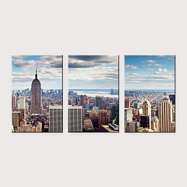 billige Trykk-Trykk Valset lerretskunst - Arkitektur Moderne Klassisk Tre Paneler Kunsttrykk