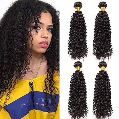 baratos Extensões de Cabelo Natural-4 pacotes Cabelo Peruviano Kinky Curly Não processado Cabelo Natural 100% Remy Hair Weave Bundles Cabelo Humano Ondulado Cabelo Bundle Extensões de Cabelo Natural 8-28 polegada Natural Tramas de