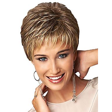 Synteettiset peruukit / Otsatukat Kihara Tyyli Vapaa osa Suojuksettomat Peruukki Kulta Vaalea kulta Synteettiset hiukset 12 inch Naisten Naisten / synteettinen / Liukuvärjätty Kulta Peruukki Lyhyt