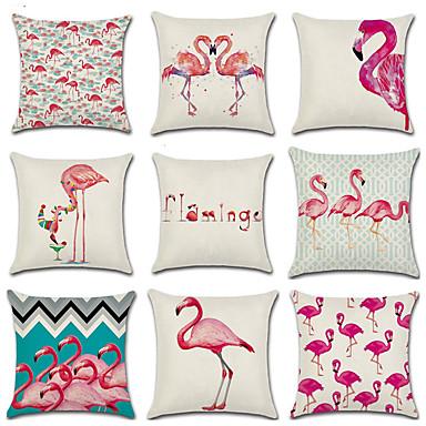 1 kpl Puuvilla / pellava Tyynynpäälinen, Flamingo 3D Print Muoti Joulu Heittää tyyny