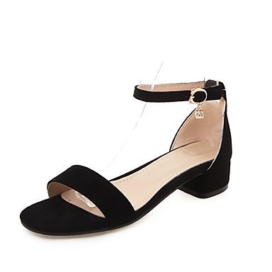 cheap Featured Deals-Women's Suede Summer Minimalism Sandals Chunky Heel Open Toe Buckle Black / Gray / Pink
