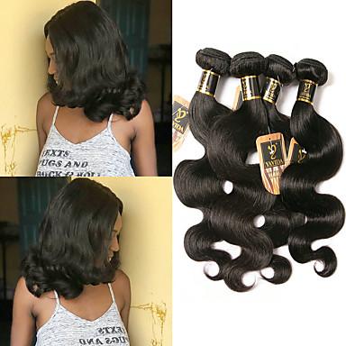 voordelige Weaves van echt haar-4 bundels Braziliaans haar BodyGolf 100% Remy haarweefselbundels Menselijk haar weeft Bundle Hair Extentions van mensenhaar 8-28 inch(es) Natuurlijke Kleur Menselijk haar weeft Geurvrij Modieus
