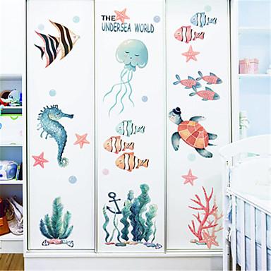 tegneserie undervands verden klistermærker børneværelse soveværelse væg dekoration børnehave marine væg klistermærker små fisk ins klistermærker