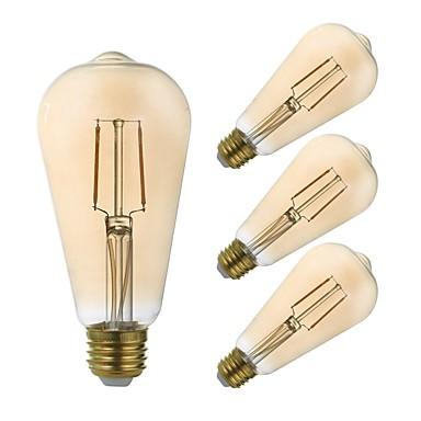 abordables Ampoules électriques-GMY® 4pcs 2.5 W Ampoules à Filament LED 180 lm E26 / E27 ST21 2 Perles LED COB Intensité Réglable Décorative Ambre 110-130 V
