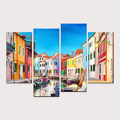 billige Trykk-Trykk Valset lerretskunst - Kjent Arkitektur Moderne Fire Paneler Kunsttrykk