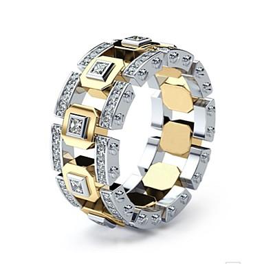 voordelige Herensieraden-Heren Dames Ring 1pc Goud Zilveren ring 1 Gouden ring 1 Gesimuleerde diamant Legering Europees Dagelijks Sieraden Mes rand