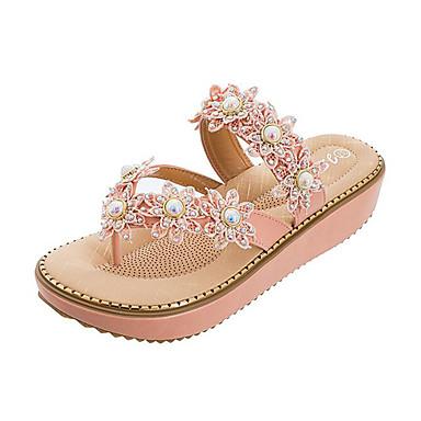 voordelige Damespantoffels & slippers-Dames Slippers & Flip-Flops Sleehak Open teen  Parel PU Zoet Zomer Zwart / Groen / Amandel