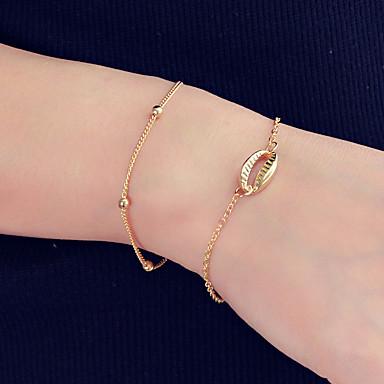abordables Bracelet-2pcs Chaînes Bracelets Femme Lien / Chaîne Boule Coquillage Elégant Vacances Bracelet Bijoux Dorée pour Quotidien