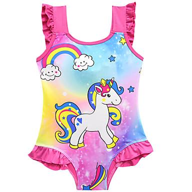 baratos Roupas de Banho para Meninas-Infantil Bébé Para Meninas Activo Estilo bonito Unicorn Estampado Sem Manga Roupa de Banho Rosa