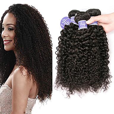 voordelige Weaves van echt haar-3 bundels Braziliaans haar Bouncy Curl Kinky Curly 100% Remy haarweefselbundels Helm Menselijk haar weeft Bundle Hair 8-28 inch(es) Natuurlijke Kleur Menselijk haar weeft uitbreiding Cool curling