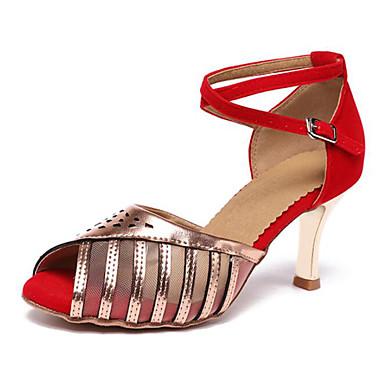805f72c6a16 Γυναικεία Παπούτσια χορού λάτιν Φο Δέρμα Τακούνια Τακούνι καμπάνα Εξατομικευμένο  Παπούτσια Χορού Χρυσό / Γκρίζο / Κόκκινο