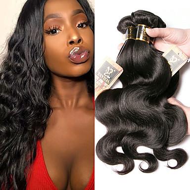 voordelige Weaves van echt haar-4 bundels Braziliaans haar BodyGolf 100% Remy haarweefselbundels Menselijk haar weeft Bundle Hair Een Pack Solution 8-28 inch(es) Natuurlijke Kleur Menselijk haar weeft Geurvrij Geschenk Cosplay
