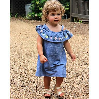 af3476d91 bebê Para Meninas Activo   Básico Sólido   Estampado Estampado Sem Manga  Altura dos Joelhos Algodão Vestido Azul