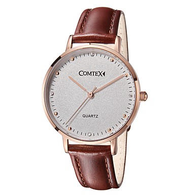 cheap Women's Watches-COMTEX Women's Quartz Watches Fashion Brown Genuine Leather Quartz White Water Resistant / Waterproof 1 pc Analog