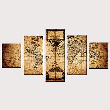 billige Trykk-Trykk Valset lerretskunst Strukket Lerret Trykk - Moderne Kart Vintage Moderne Fem Paneler Kunsttrykk