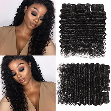 billige Parykker af ægte menneskerhår-6 Bundler Brasiliansk hår Deep Curly Jomfruhår Menneskehår, Bølget Bundle Hair Én Pack Solution 8-28inch Naturlig Farve Menneskehår Vævninger Nyfødt Vandfald Nuttet Menneskehår Extensions Dame