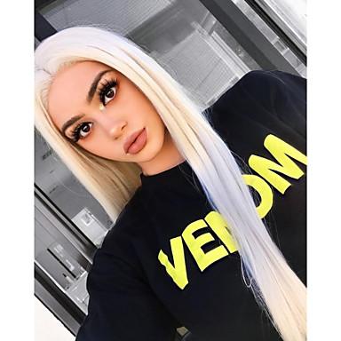 Χαμηλού Κόστους Συνθετικές περούκες με δαντέλα-Συνθετικές μπροστινές περούκες δαντέλας Ίσιο Στυλ Μέσο μέρος Δαντέλα Μπροστά Περούκα Ξανθό Blonde Συνθετικά μαλλιά 18-26 inch Γυναικεία Φυσική γραμμή των μαλλιών Ξανθό Περούκα Μακρύ 180