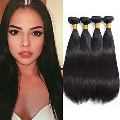 4 pakettia Perulainen Suora 100% Remy Hair Weave -paketit Hiukset kutoo Bundle Hair Aitohiuspidennykset 8-28 inch Luonnollinen väri Hiukset kutoo Vesiputous Pehmeä kuuma Myynti Hiukset Extensions