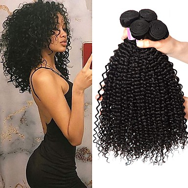 voordelige Weaves van echt haar-4 bundels Braziliaans haar Kinky Curly Mensen Remy Haar Menselijk haar weeft Bundle Hair Extentions van mensenhaar 8-28inch Natuurlijke Kleur Menselijk haar weeft Pasgeboren Eenvoudig Geurvrij