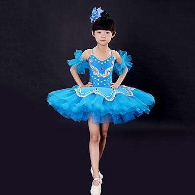 4429d38b5d Roupas de Dança para Crianças   Balé Vestidos Para Meninas Treino    Espetáculo Poliéster   Com Transparência Penas   Pêlo   Combinação    Cristal   Strass ...