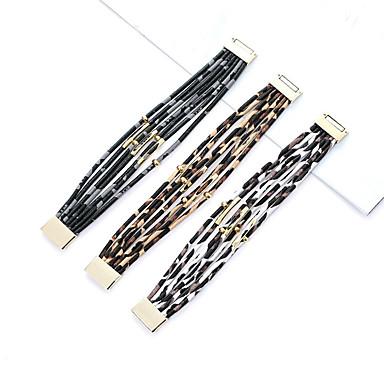 رجالي نسائي أساور من الجلد طبقات مزدوجة الكعك شائع جلدي مجوهرات سوار أبيض / أسود / كوفي من أجل مناسب للبس اليومي