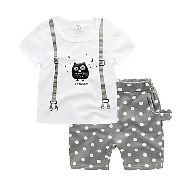 povoljno Odjeća za dječake-Djeca Dječaci Osnovni Na točkice Kratkih rukava Pamuk Komplet odjeće Plava