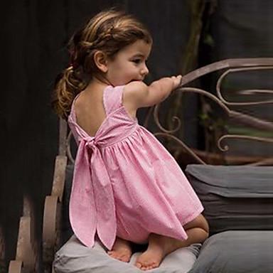 a4a6340b9 abordables Vestidos de Niña-Bebé Chica Estilo lindo A Cuadros Espalda al  Aire Lazo Sin