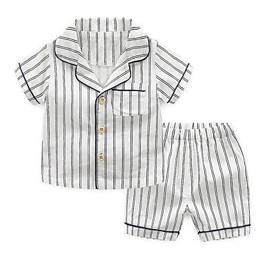 baratos Cuecas & Meias para Meninos-2pçs Infantil Para Meninos Activo Básico Listrado Listas Fivela Algodão Roupa de Dormir Azul