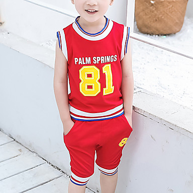 billiga Pojkset-Barn Pojkar Grundläggande Streetchic Tryck Lappverk Lappverk Tryck Ärmlös Normal Normal Bomull Klädesset Blå