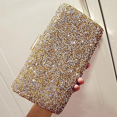 povoljno Clutch i večernje torbice-Žene Štras Večernja torbica Kristalne vrećice od kristalnog kamena PU Jednobojni Zlato / Crn / Pink