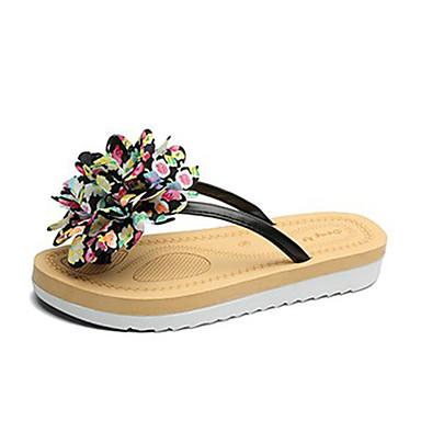 voordelige Damespantoffels & slippers-Dames Polyester Zomer Slippers & Flip-Flops Platte hak Wit / Zwart / Blauw