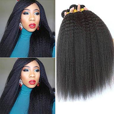 baratos Extensões de Cabelo Natural-3 pacotes Cabelo Peruviano Yaki Yaki Liso Não processado Cabelo Natural 100% Remy Hair Weave Bundles Peça para Cabeça Cabelo Bundle Extensões de Cabelo Natural 8-28 polegada Côr Natural Tramas de