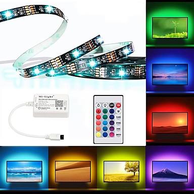 billige LED Strip Lamper-brelong ledet tv-bakgrunnsbelysning rgb fleksibel flerfarges ip65 epoksy vanntett med infrarød kontroller 24-tommers fjern halloween dekorasjon tv datamaskin bakgrunnsbelysning 2m 60led