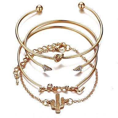 voordelige Armband-4pcs Dames kleine diamant Klassiek Armband set Droom Klassiek Armbanden Sieraden Goud Voor Feest Lahja Dagelijks Werk Belofte