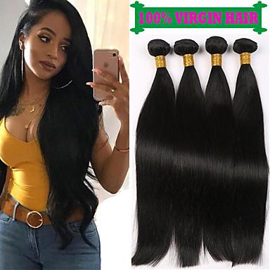 voordelige Weaves van echt haar-4 bundels Braziliaans haar Recht 100% Remy haarweefselbundels Menselijk haar weeft Bundle Hair Extentions van mensenhaar 8-28 inch(es) Natuurlijke Kleur Menselijk haar weeft Geurvrij Glad Cool