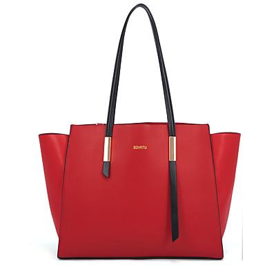 abordables Sacs-Femme Fermeture Cuir / Cuir de Vachette Cabas Couleur unie Noir / Rouge / Automne hiver