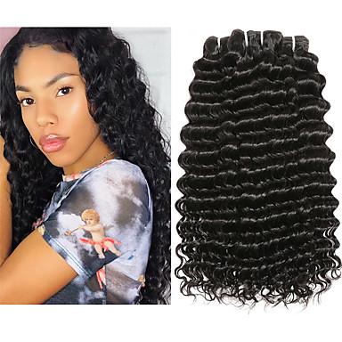 baratos Extensões de Cabelo Natural-4 pacotes Cabelo Malaio Onda Profunda 100% Remy Hair Weave Bundles Cabelo Humano Ondulado Um Pacote de Solução Extensões de Cabelo Natural 8-28inch Côr Natural Tramas de cabelo humano Cascata Sem