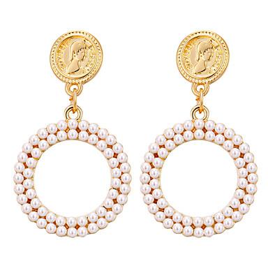 levne Dámské šperky-Dámské Geometrické Náušnice Perly Náušnice Face Klasické Vintage Evropský Elegantní Šperky Zlatá Pro Párty Dar Denní Street Práce 1 Pair